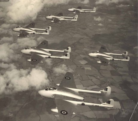 Flight of Vampires that were the first jets to fly non stop over the Atlantic and broke the world altitude record in 1948